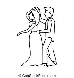 couple wedding dancing outline