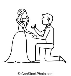 couple wedding ring romantic outline vector illustration eps...