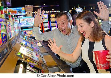 Couple winning casino game