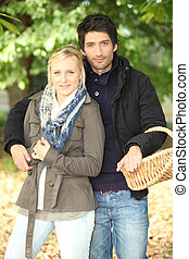 Couple with a basket