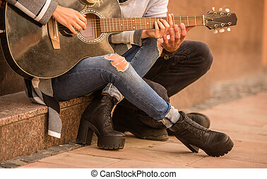 Couple with a guitar