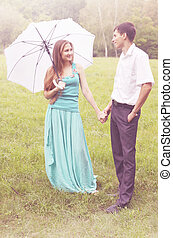 couple with an umbrella