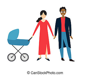 Couple with baby in a stroller.  Illustration