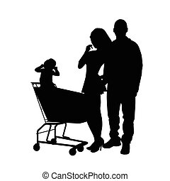 couple with baby silhouette illustration
