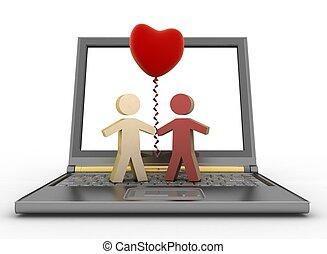 Couple with balloon on laptop