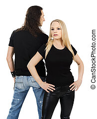 Couple with blank black shirts - Photo of a man and woman...