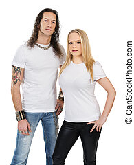 Couple with blank white shirts
