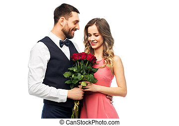 couple with bunch of flowers on valentines day