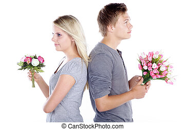 couple with bunch of flowers