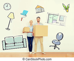 couple with cardboard boxes moving to new home - home, ...