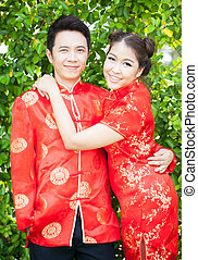 Couple with chinese dress in love