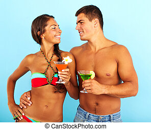 Couple with cocktails