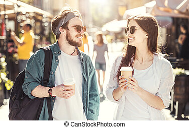 Couple with Coffee Cups