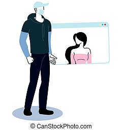 couple with communicating by video call