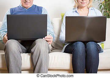 Couple with computers