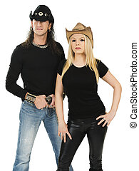 Couple with cowboy hats and blank black shirts