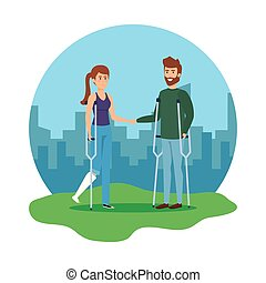 couple with crutches characters