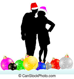 couple with decoration ball vector illustration