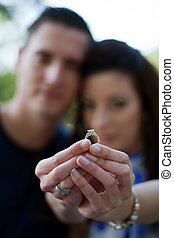 Couple with Diamond Engagement Ring