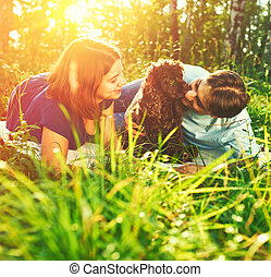 Couple with dog - Beautiful couple with dog outdoors