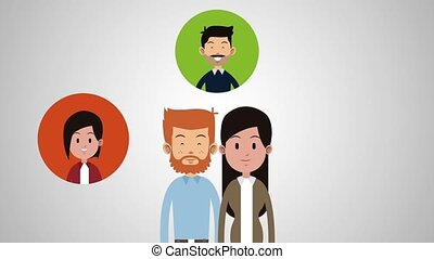 Couple with family HD animation