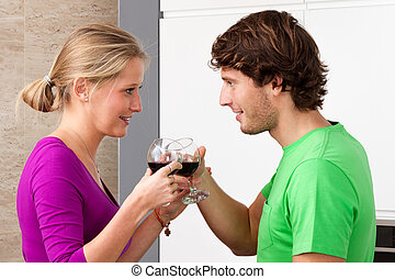 Couple with glasses of wine