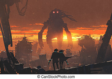 couple with gun looking at giant robot - sci-fi scene of...