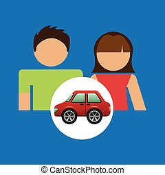 couple with hatchback car red vector illustration eps 10