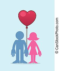 Couple with Heart Balloon