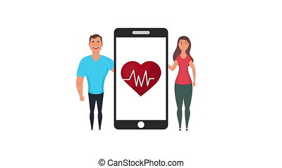 couple with heart cardio in smartphone healthy life style