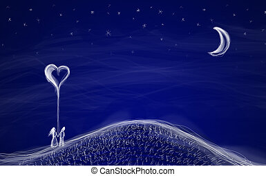 Couple with heart - Hand drawn couple with balloon heart in...