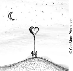 Hand drawn couple with balloon heart in abstract world.