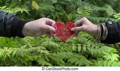 Couple with heart in hands