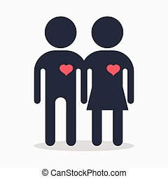 couple with heart in love