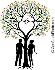 heart tree with green leaves and birds, vector background