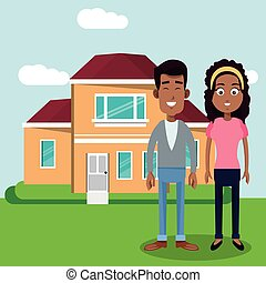 couple with house home image vector illustration eps 10