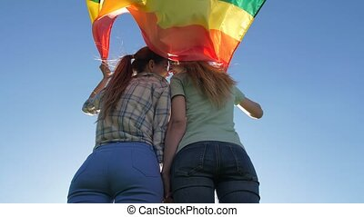 Couple with lgbt flag standing under bright sky - Low angle...