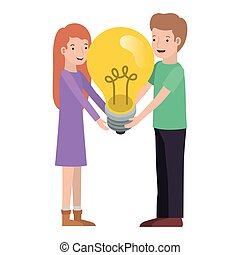 couple with light bulb avatar character