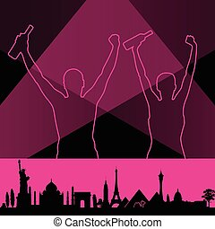 couple with monument building vector pink illustration