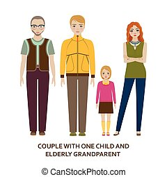 Couple with one child and elderly grandparent