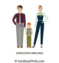 Couple with one child. Cartoon illustration