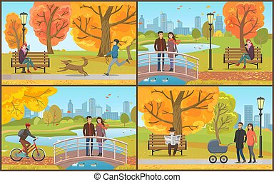 Couple with Perambulator Walking in Park Vector