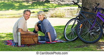 Couple with picnic basket in park - Portrait of smiling...