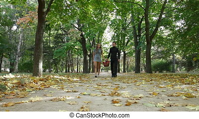 couple with picnic basket walking