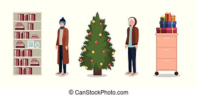 couple with pine tree christmas