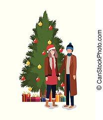 couple with pine tree christmas