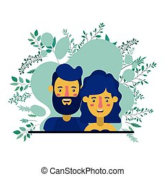 couple with plants characters