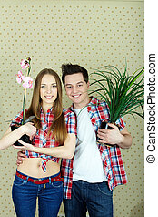 Couple with plants