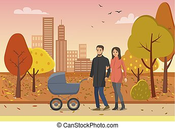 Couple with Pram Family People in Park Vector