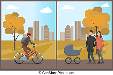 Couple with Pram Walking in Autumn Park Vector
